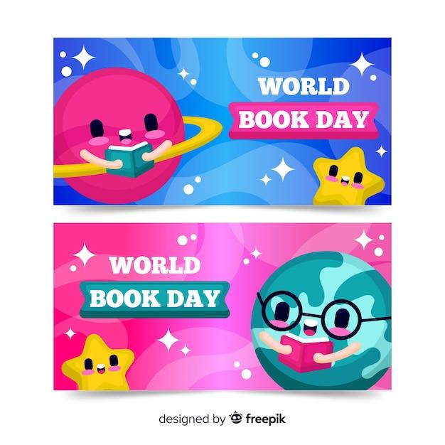 Bannières de jour du livre monde plat Vecteur gratuit