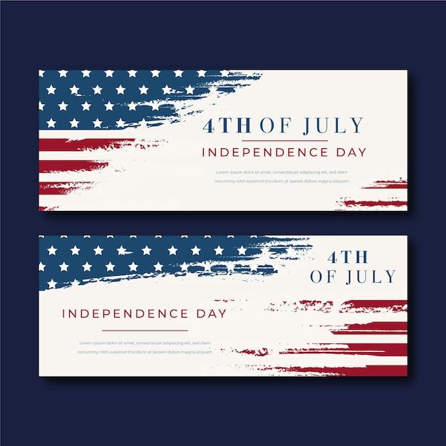 Bannières De Jour De L'indépendance Du 4 Juillet Vintage Vecteur gratuit