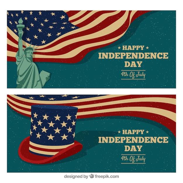 Bannières de jour de l'indépendance usa dessinés à la main Vecteur gratuit