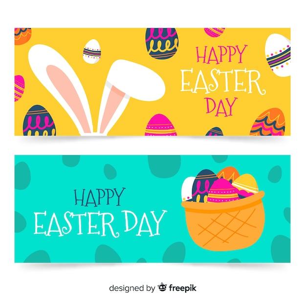 Bannières de jour de pâques dessinés à la main Vecteur gratuit