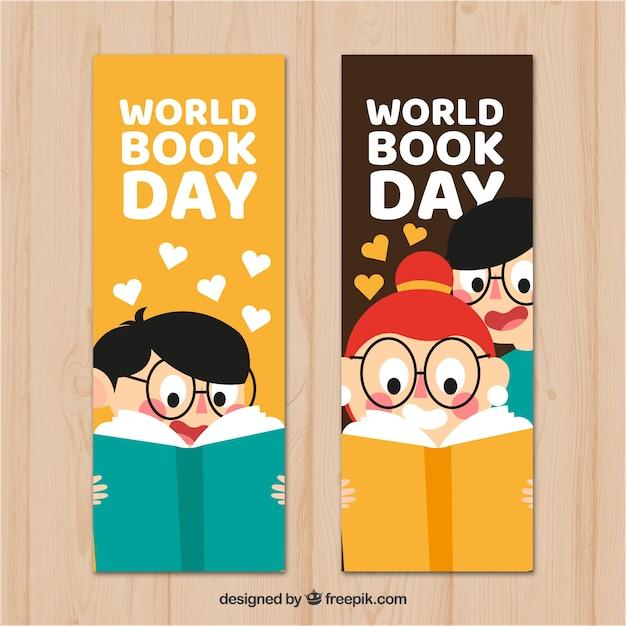 Bannières de jour plat livre du monde avec des enfants Vecteur gratuit