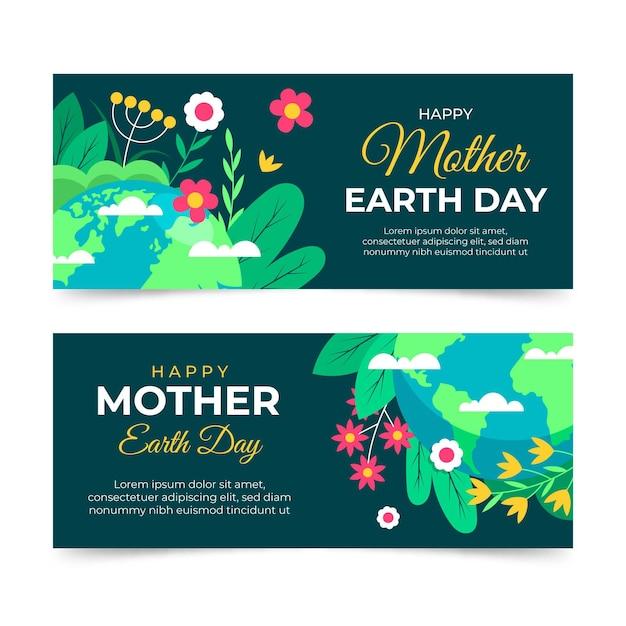 Bannières De Jour De La Terre Mère Plate Vecteur gratuit