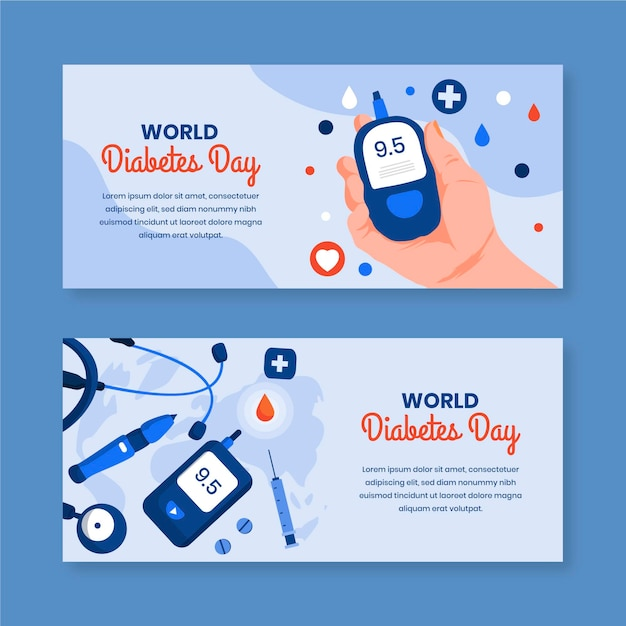 Bannières De La Journée Mondiale Du Diabète Avec Appareil Vecteur Premium