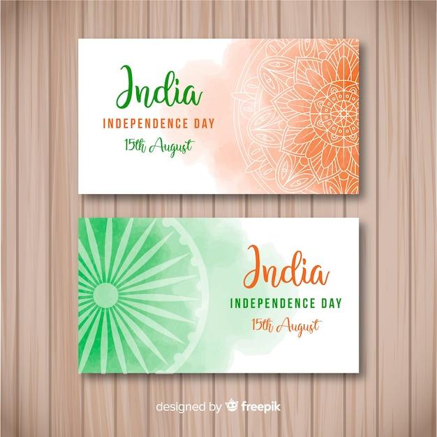 Bannières joyeuses fêtes de l'indépendance de l'inde Vecteur gratuit