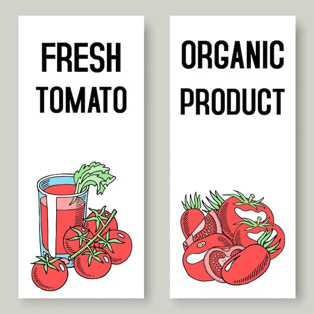 Bannières de jus de tomates fraîches. nourriture saine. Vecteur Premium