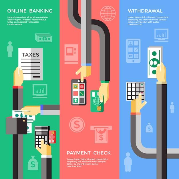 Bannières En Libre-service Pour Les Opérations Bancaires Vecteur gratuit