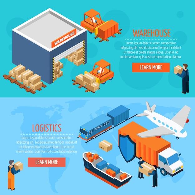 Bannières de logistique d'entrepôt isométrique Vecteur gratuit