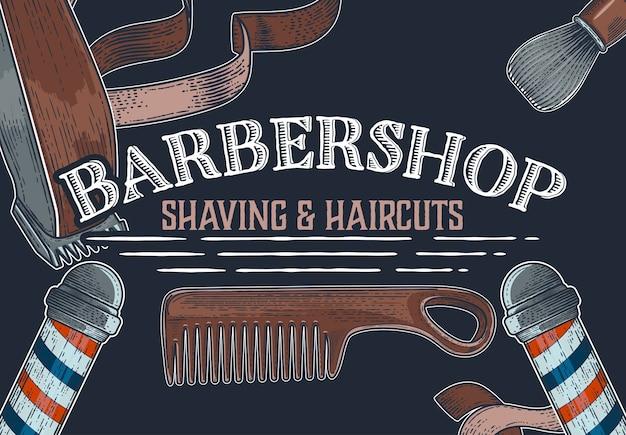 Bannières de magasin de coiffeur vecteur dessiné à la main Vecteur Premium