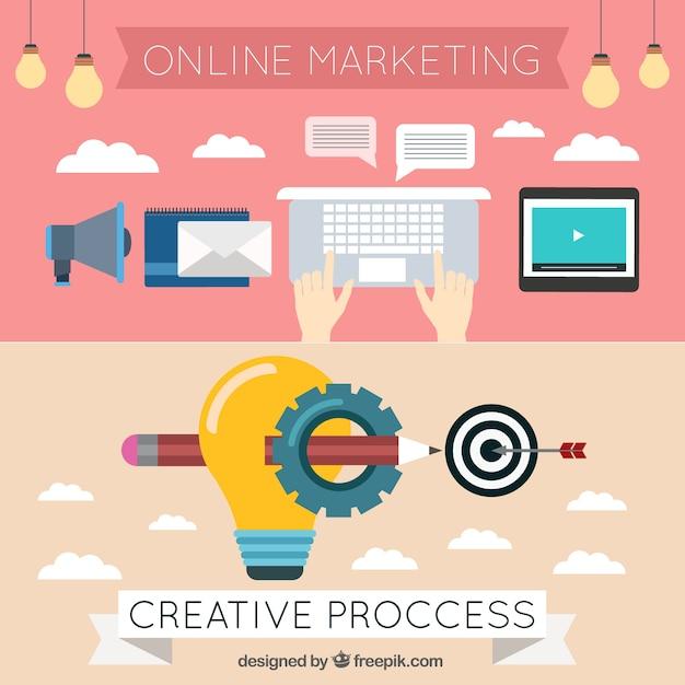 Bannières marketing et éléments de blog en design plat Vecteur gratuit