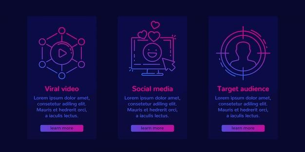 Bannières De Marketing Internet Pour Les Médias Sociaux Vecteur Premium