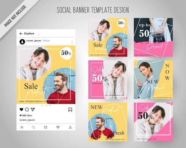 Bannières de médias sociaux de mode minimal pour le marketing numérique Vecteur Premium