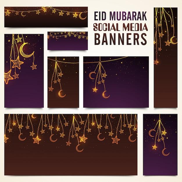 Les bannières des médias sociaux sont décorées avec des lune croisées et des étoiles pour le festival des célébrités islamiques, célébration d'eid mubarak Vecteur gratuit