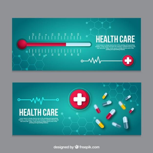Bannières médicales avec thermomètre et pilules Vecteur gratuit