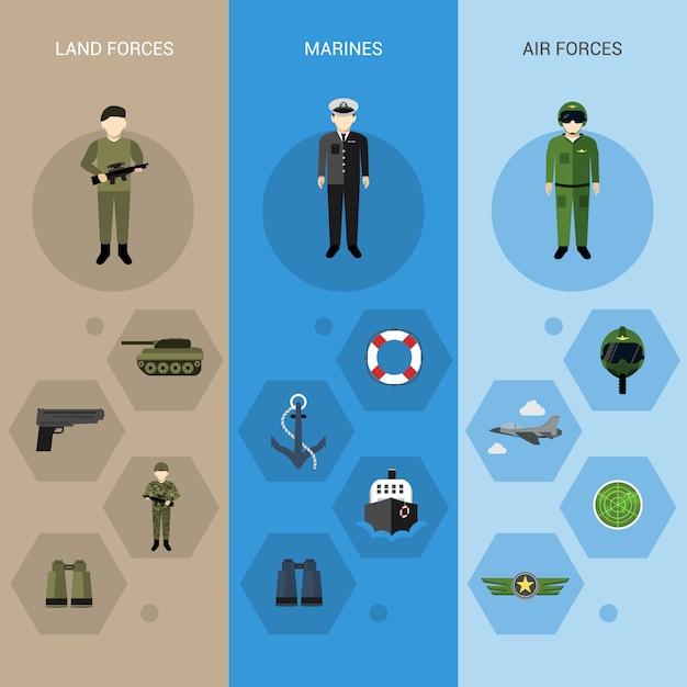 Bannières militaires verticales Vecteur Premium