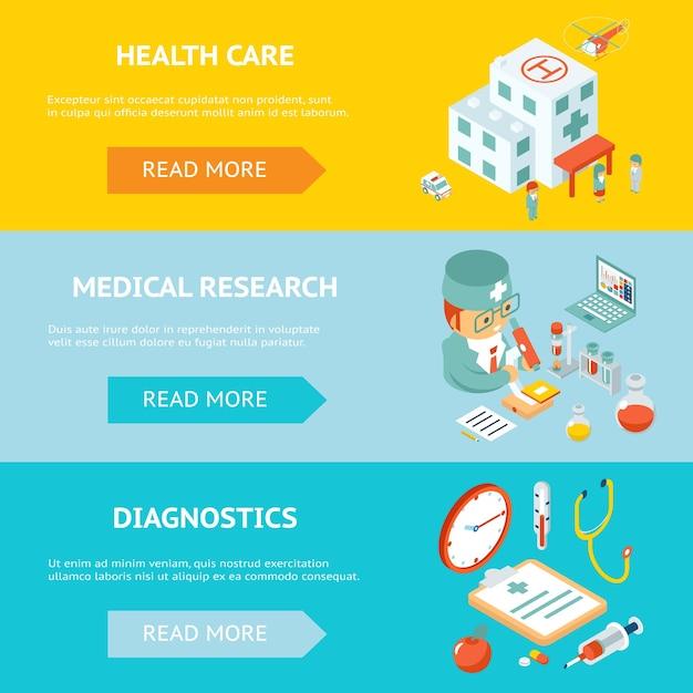 Bannières Mobiles De Soins De Santé Et De Recherche Médicale. Médecin Et Pharmacie, Laboratoire Et Clinique. Illustration Vectorielle Vecteur gratuit