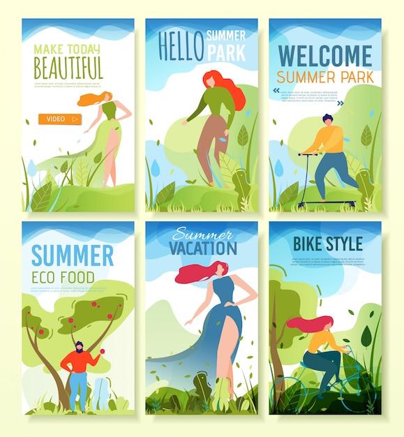 Bannières mobiles avec voeux de l'été, invitation. Vecteur Premium