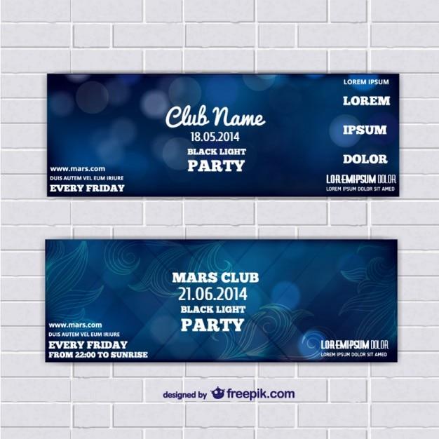 Bannières de modèle de billet avec fond bleu abstrait Vecteur gratuit