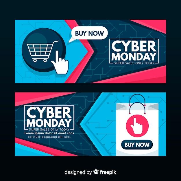 Bannières modernes cyber lundi avec design plat Vecteur gratuit