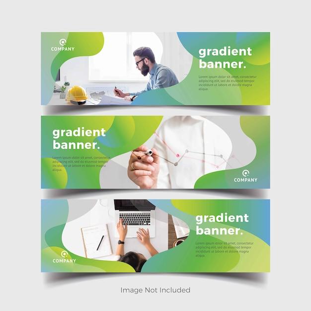 Bannières modernes avec des formes de dégradés verts Vecteur Premium