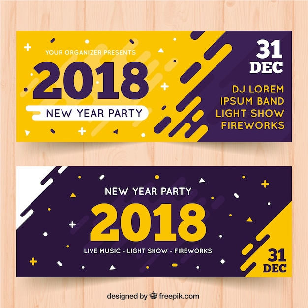 Bannières modernes pour la nouvelle année 2018 Vecteur gratuit