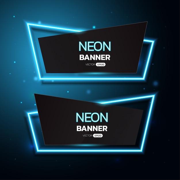 Bannières Néon Géométriques. Vecteur Premium