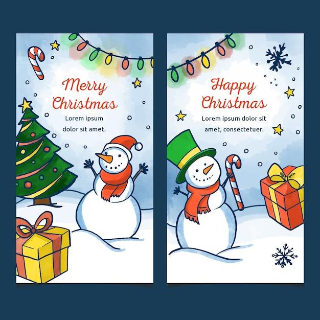 Bannières De Noël Aquarelle Avec Bonhomme De Neige Vecteur gratuit