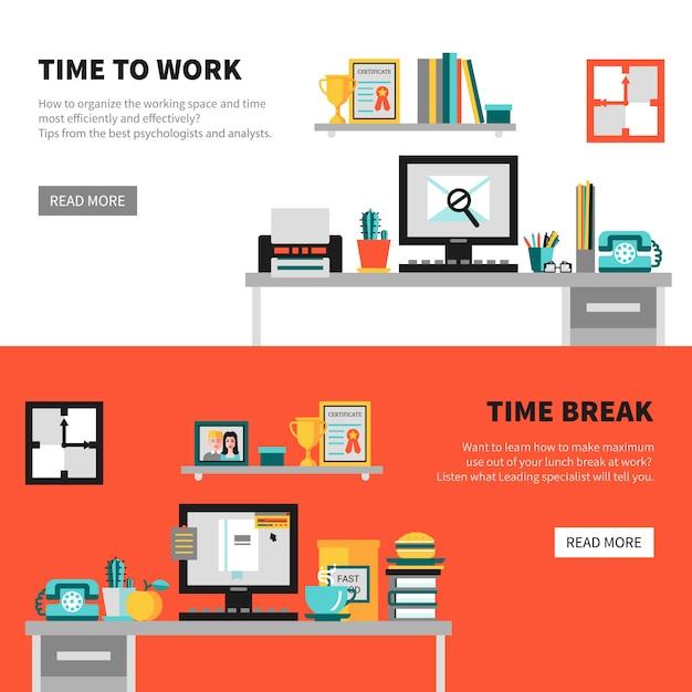 Bannières office avec des ensembles d'espace de travail Vecteur gratuit