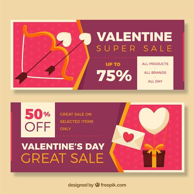 Bannières Avec Des Offres Spéciales Pour Saint Valentin Vecteur gratuit