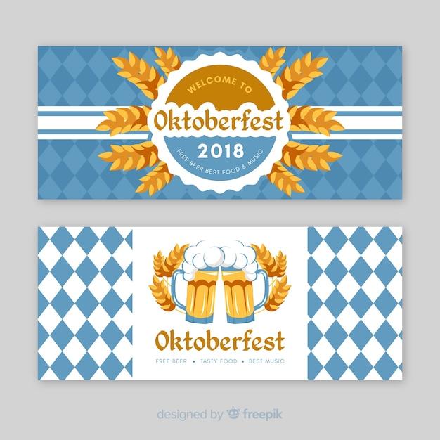 Bannières d'oktoberfest bleues et blanches Vecteur gratuit