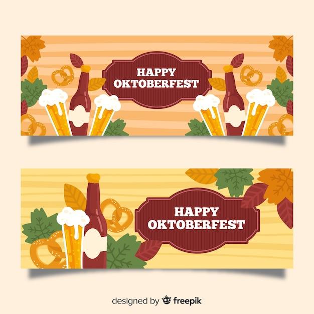 Bannières oktoberfest dessinés à la main Vecteur gratuit