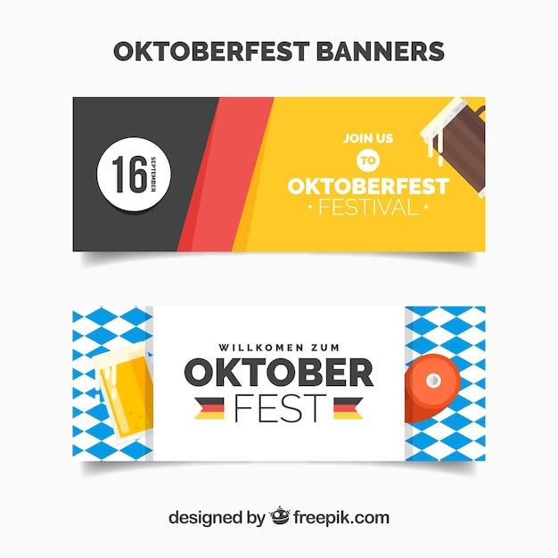 Bannières Oktoberfest Avec Drapeaux Vecteur gratuit