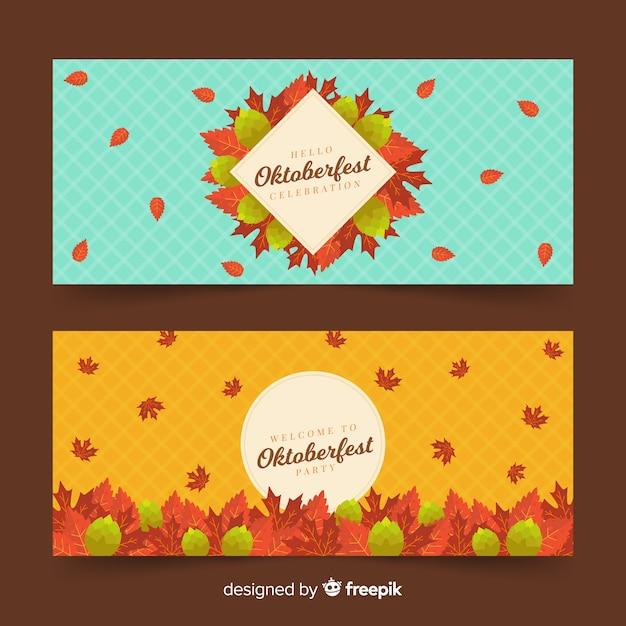 Bannières oktoberfest plates avec des feuilles séchées Vecteur gratuit
