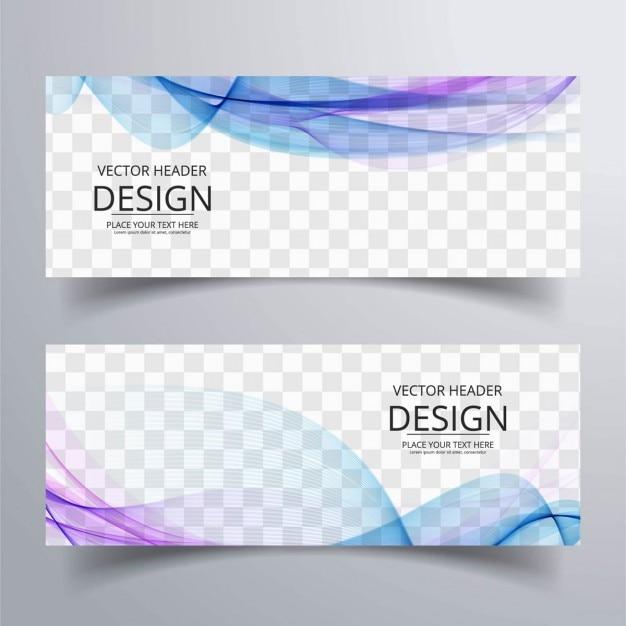 Bannières ondulées colorful Vecteur gratuit