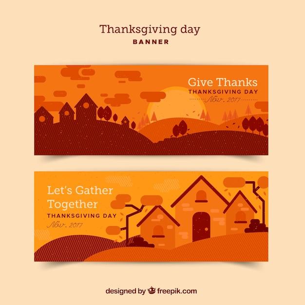 Bannières orange thanksgiving avec paysage Vecteur gratuit