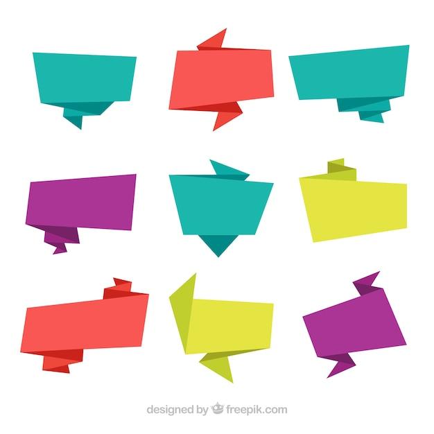 Bannières en origami coloré fixés Vecteur gratuit