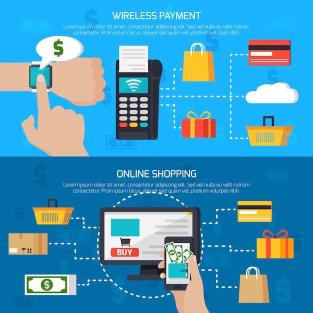 Bannières de paiement sans fil et de magasinage en ligne Vecteur gratuit