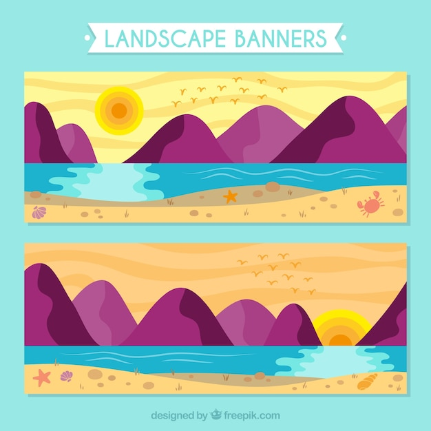 Bannières De Paysage Au Coucher Du Soleil Avec Des Montagnes Vecteur gratuit