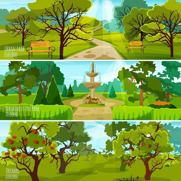 Bannières paysage jardin Vecteur gratuit