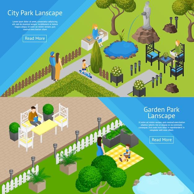 Bannières de paysage de parc de jardin Vecteur gratuit