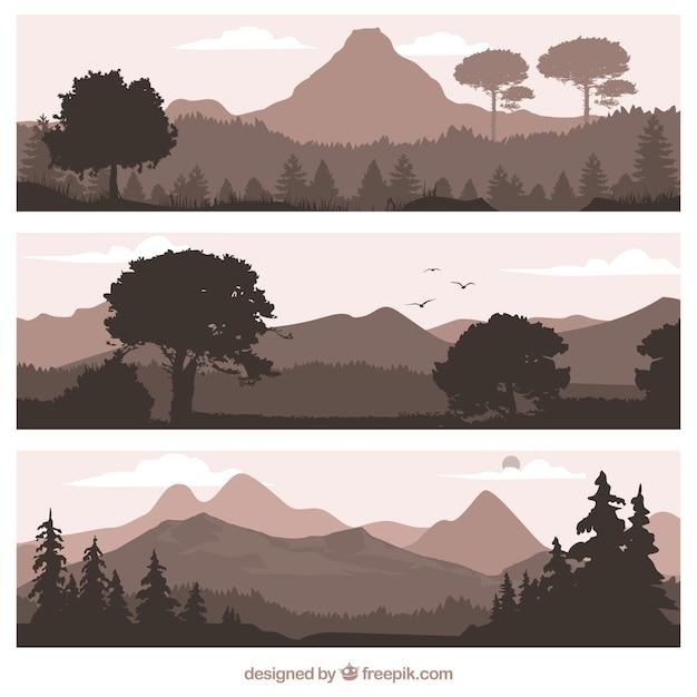 Bannières De Paysages Naturels Vecteur gratuit