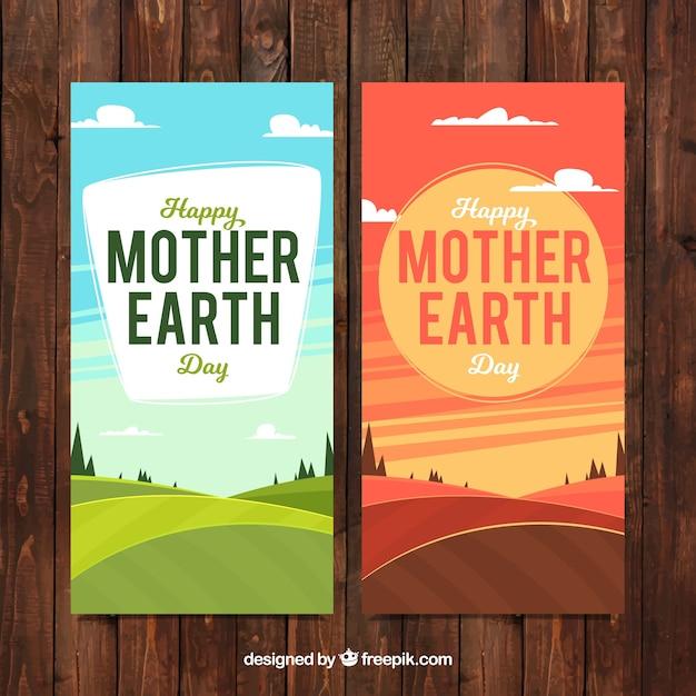 Bannières avec des paysages pour la journée terre mère Vecteur gratuit