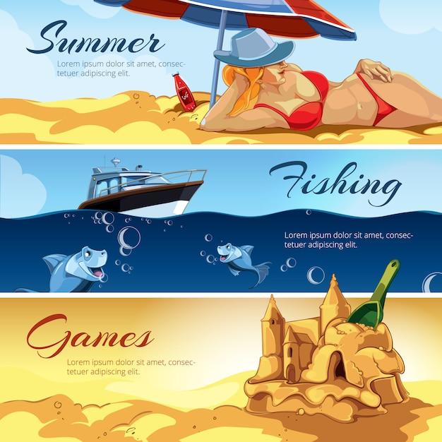 Bannières avec des photos d'activités d'été Vecteur Premium