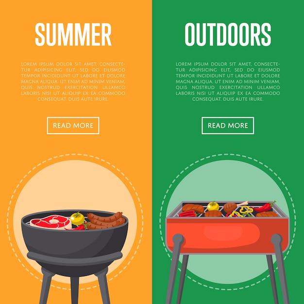 Bannières de pique-nique en plein air avec de la viande sur le barbecue Vecteur Premium