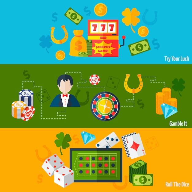 Bannières plates casino Vecteur gratuit