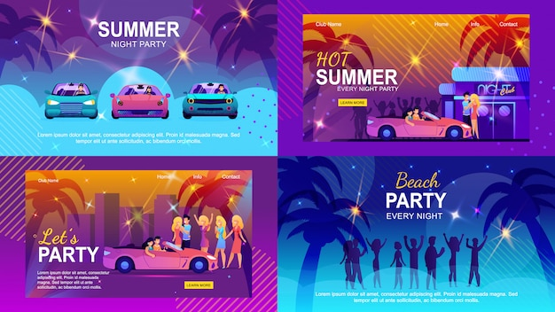 Bannières plates colorées définies invitant à l'aventure d'été Vecteur Premium