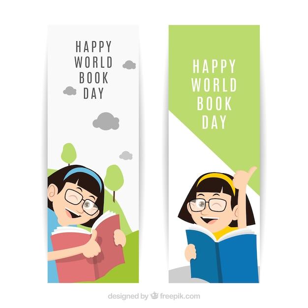 banni res plates fille heureuse pour la journ e mondiale du livre t l charger des vecteurs. Black Bedroom Furniture Sets. Home Design Ideas