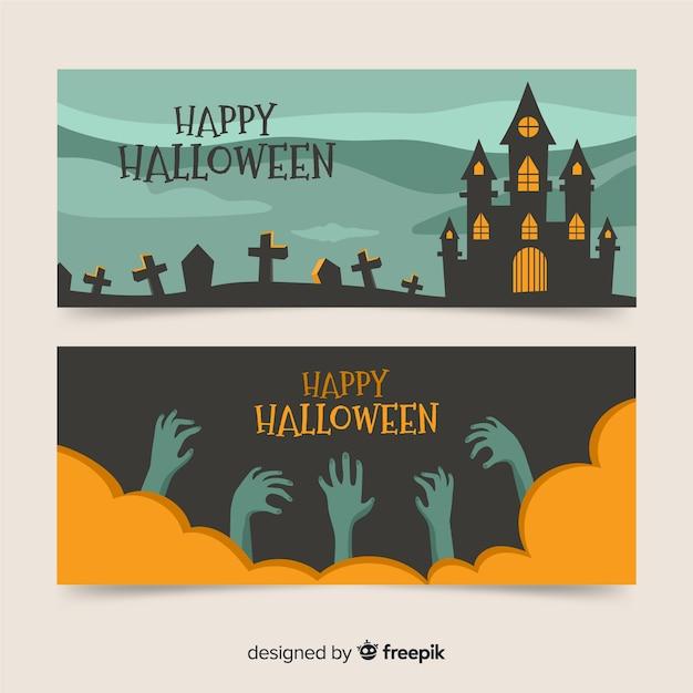 Bannières plates d'halloween pour la fête Vecteur gratuit