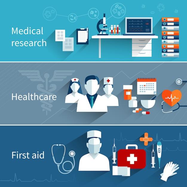 Bannières plates médicales Vecteur gratuit