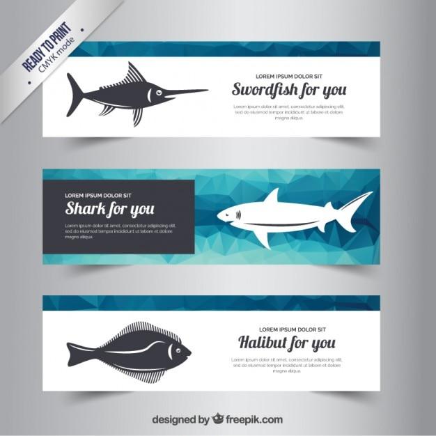 Bannières polygonales avec des poissons Vecteur gratuit