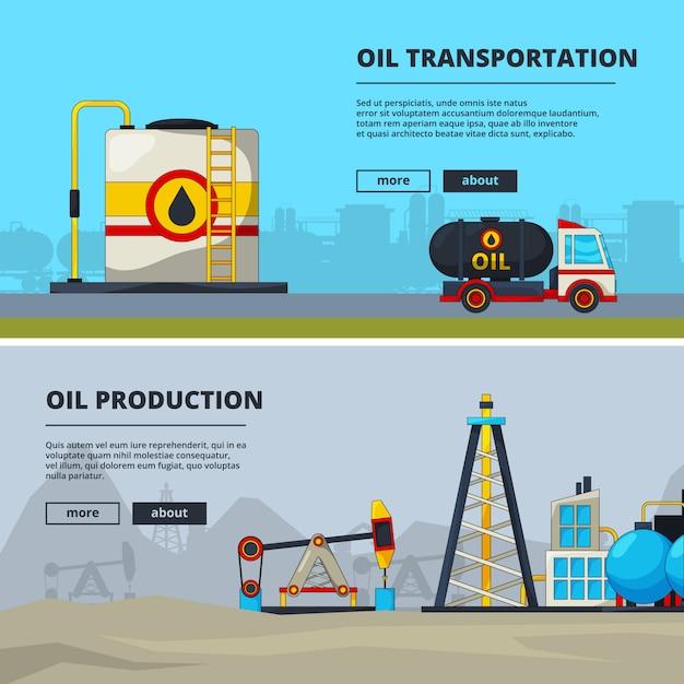 Bannières pour l'industrie pétrolière Vecteur Premium